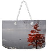 Red Tree On The Lake Front Weekender Tote Bag