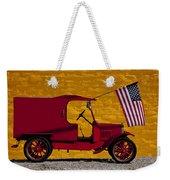 Red Truck Against Yellow Wall Weekender Tote Bag