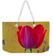 Red Tulip With Yellow Wall Weekender Tote Bag