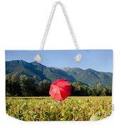 Red Umbrella On The Field Weekender Tote Bag