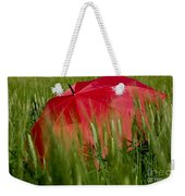 Red Umbrella On The Wheat Field Weekender Tote Bag