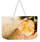 Red Yellow Rose Over A Hand Written Letter Weekender Tote Bag