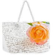Red Yellow Rose Over A Hand Written Love Letter Weekender Tote Bag