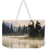 Reflection Lake With Mist, Mount Weekender Tote Bag