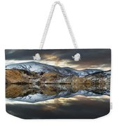 Reflections Of Cliffs On Blue Lake St Bathans Weekender Tote Bag by Colin Monteath