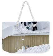 Removing Snow From A Building Weekender Tote Bag
