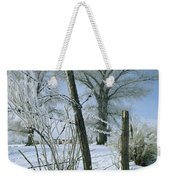 Rime From Rare Fog Coats Fence Weekender Tote Bag