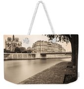 River Seine And Cathedral Notre Dame Weekender Tote Bag