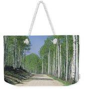 Road Through An Aspen Forest, Manti La Weekender Tote Bag