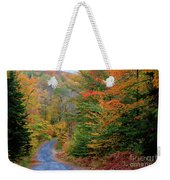 Road Through Autumn Woods Weekender Tote Bag by Larry Landolfi and Photo Researchers