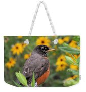 Robin Among Flowers Weekender Tote Bag