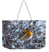 Robin On A Frosty Morning Weekender Tote Bag