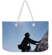 Rock Climber On Polly Dome Above Lake Weekender Tote Bag