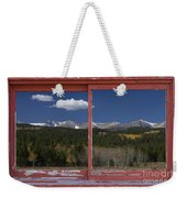 Rocky Mountain Autumn Red Rustic Picture Window Frame Photos Art Weekender Tote Bag