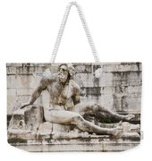 Roman Statue With Pigeon And Wildflowers Weekender Tote Bag