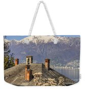 Roof With Chimney And Snow-capped Mountain Weekender Tote Bag