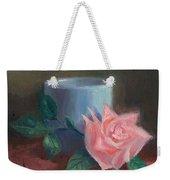 Rose With Blue Cup Weekender Tote Bag