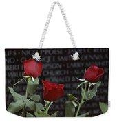 Roses Glow Against The Black Granite Weekender Tote Bag