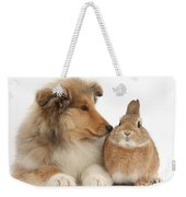 Rough Collie Pup With Rabbit Weekender Tote Bag