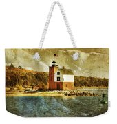 Round Island Lighthouse Weekender Tote Bag