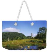Round Tower And River In The Forest Weekender Tote Bag