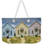 Row Of Pastel Colored Beach Cottages Weekender Tote Bag