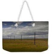 Row Of Utility Poles On The Prairie Weekender Tote Bag