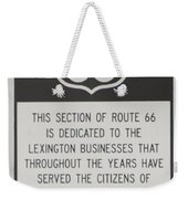 Rt 66 Lexington County Signage Weekender Tote Bag