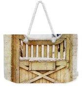Rustic Wooden Gate In Snow Weekender Tote Bag