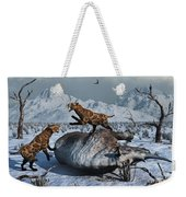 Sabre-toothed Tigers Battle Weekender Tote Bag