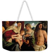 Sacra Conversatione With Ss Catherine Sebastian And Holy Family Weekender Tote Bag