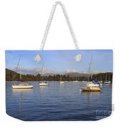 Sailboats At Anchor In Bowness On Windermere Weekender Tote Bag