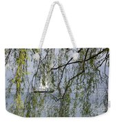 Sailing Boat Behind Tree Branches Weekender Tote Bag