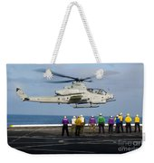 Sailors And Marines Watch An Ah-1z Weekender Tote Bag