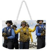 Sailors Fight A Simulated Fire Aboard Weekender Tote Bag