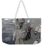Sailors Fire A Mark 38 Machine Gun Weekender Tote Bag