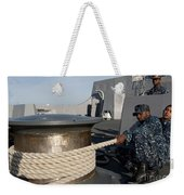 Sailors Handle Mooring Lines Aboard Uss Weekender Tote Bag