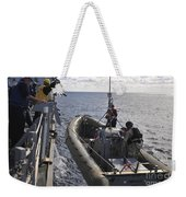 Sailors Lift A Rigid-hull Inflatable Weekender Tote Bag