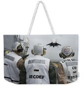 Sailors Observe An Aircraft On Board Weekender Tote Bag