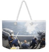Sailors Perform A 21-gun Salute Aboard Weekender Tote Bag by Stocktrek Images