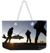 Sailors Watch A Helicopter Lift Weekender Tote Bag