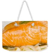 Salmon Steak On Pasta Decorated With Dill Closeup Weekender Tote Bag