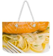Salmon Steak On Pasta Decorated With Dill Weekender Tote Bag