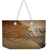Sand Fence Falling Down On The Beach Weekender Tote Bag