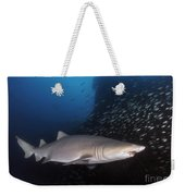 Sand Tiger Shark Swims By The Wreck Weekender Tote Bag