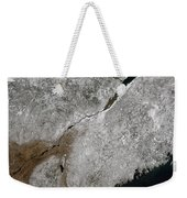Satellite View Of A Frosty Landscape Weekender Tote Bag by Stocktrek Images