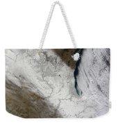 Satellite View Of Snow And Cold Weekender Tote Bag