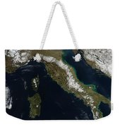 Satellite View Of Snow In Italy Weekender Tote Bag