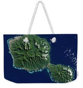 Satellite View Of Tahiti Weekender Tote Bag