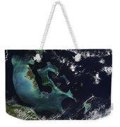 Satellite View Of The Bahama Islands Weekender Tote Bag